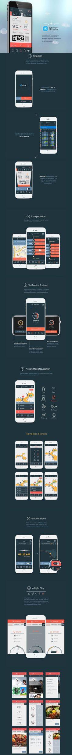 Atob (Airline Service App) plane trip travel booking app ios iphone smartphone