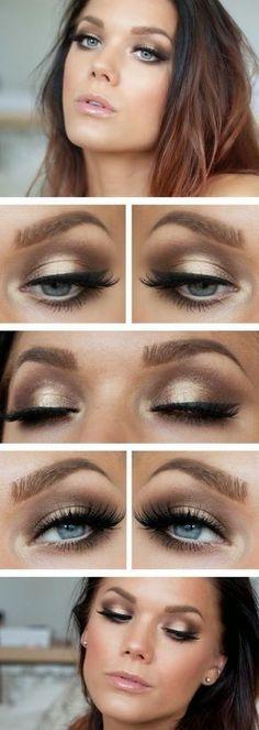 Makeup Look: False eyelashes with a neutral/champagne smokey eye @ Filomena Spa Pinterest #Lifestyle #Wellness #FilomenaSpa