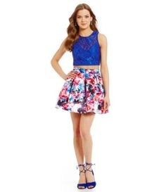 Teeze Me Lace Crop-Top Floral Print Skirt Two-Piece Dress #Dillards