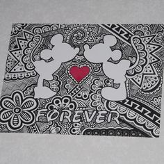 Mickey and minnie forever print by curbedchaos on etsy mandalas arte, dibuj Arte Disney, Disney Art, Mandalas Drawing, Disney Coloring Pages, Zentangle Patterns, Zentangles, Disney Drawings, Easy Drawings, Doodle Art