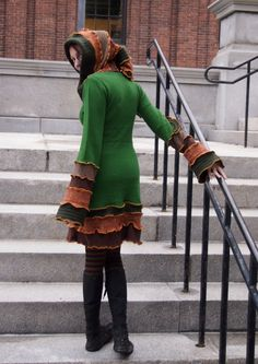 gARdEN NymPh UpcYcLed SweAtER CoaT iN EmEraLd GreEn, OrANgeS anD BroWnS. $200.00, via Etsy.