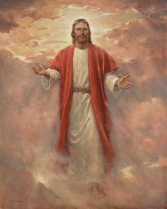 Jesus Christ In His Glory. This is a depiction of Jesus Christ as He will appear to us when He comes at the second coming. Painting by Del Parson. Jesus Our Savior, Jesus Art, Lord And Savior, God Jesus, Image Du Christ, Image Jesus, Pictures Of Jesus Christ, Bible Pictures, Arte Lds