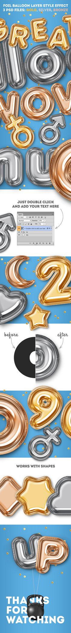 Foil Balloon Layer Style Effect — Layered PSD #air balloon #birthday • Download ➝ https://graphicriver.net/item/foil-balloon-layer-style-effect/19801349?ref=pxcr