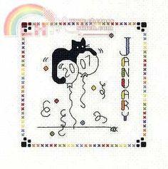 """Calico Crossroads Kats By Kelly - Mini Kats """"Happy Mew Year"""" - January 2007"""