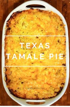 Texas Tamale Pie In Texas we love tamales. Texas Tamale Pie is a spin on beef tamales. One of my favorite recipes, and everyone seem. Casserole Taco, Easy Casserole Recipes, Casserole Dishes, Casserole Ideas, Easy Mexican Casserole, Chicken Casserole, Tamales Y Atole, Beef Tamales, Beef Tamale Pie