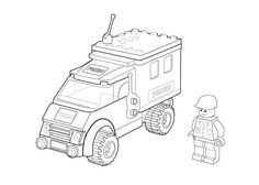 Police car coloring page Lego printable free Lego coloring page