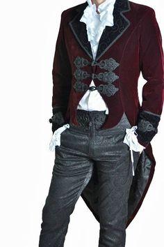 Roter Samtfrack Casanova Gothic Victorian Jacket von Punk Rave