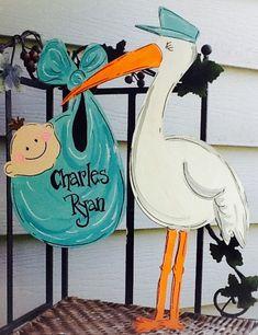 Stork Baby Showers, Baby Stork, Baby Shower Parties, Baby Shower Themes, Baby Boy Shower, Welcome Home Baby, Welcome Baby Boys, Cabbage Patch Kids, Baby Door Signs