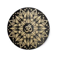 Shop Yoga Meditation Instructor Gold Mandala Om Symbol Classic Round Sticker created by ReadyCardCard. Personalize it with photos & text or purchase as is! Yoga Poses For Two, Cool Yoga Poses, Rundes Tattoo, Om Art, Yin Yang Tattoos, Yoga Symbols, Marquesan Tattoos, Om Symbol, Mandala Tattoo Design
