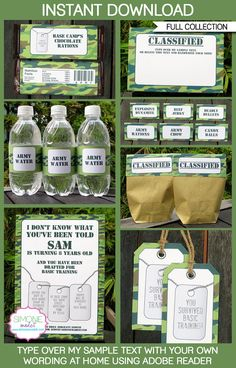 Camo Birthday Party - Army Party - INSTANT DOWNLOAD - Full Collection + Invitation - EDITABLE text you personalize at home with Adobe Reader...