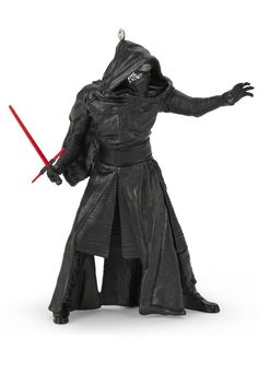 Nothing can stop the mysterious Kylo Ren™ from bringing the power of Star Wars™  saga to any Christmas tree. This Hallmark Keepsake Ornament is the villain of Star Wars™: The Force Awakens™, gestures menacingly with his distinctive lightsaber, and is the ultimate gift idea for the sci-fi lover in your life.