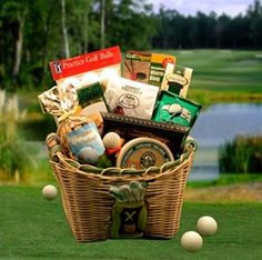 Men's Golf gift basket idea...make something like this for mike?  *his favorite balls  *funny club cover  *round of golf somewhere great  *etc. etc. etc