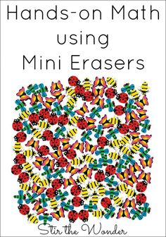 Hands-On Math using Mini Erasers can be a fun way for kids to learn math concepts such as counting, one-to-one correspondence and patterns.