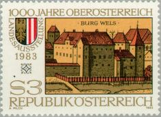 Sello: Wels Castle & coat of arms (Austria) (Exhibition '1,000 Years Upper Austria') Mi:AT 1736,Yt:AT 1565,ANK:AT 1767