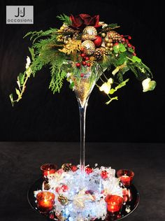 Christmas centrepiece - red, green and gold