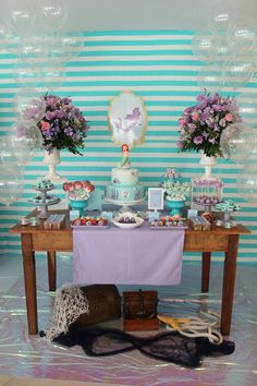The Little Mermaid Birthday Party Ideas / Festa A Pequena Sereia Ariel Little Mermaid Birthday, Little Mermaid Parties, 1st Birthday Girls, Birthday Parties, Art Party, Party Entertainment, Baby Decor, Baby Shower, Party Outfits
