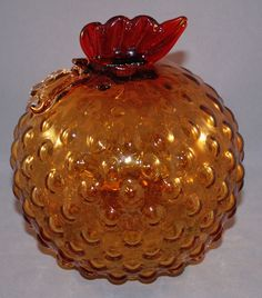 Murano? Vintage Art Glass Amber Chicken or Rooster Ball Shaped Body