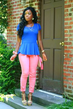 love the peplum shirt..pants are cute but not liking the shoes so much.