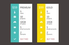 Modern Flat Pricing Table by Claudiu Fagadar on Creative Market