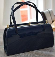 6c71346e9c Patent Leather Navy Blue Vintage Handbag Kelly Bag Two Handles Vintage Style  of Jackie Kennedy Grace Kelly Handbag Gift Shiny