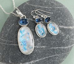 Moonstone & Kyanite Jewelry Moonstone - a glorious reflection of inner radiance evoking the Goddess - joins with Kyanite, a stone of intuition and dreams, to inspire and delight. Impressive, yet powerfully simple in form.