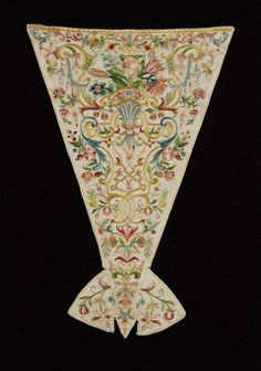 Early 18th century Italian Stomacher at the Museum of Fine Arts, Boston - In the 18th century, many gowns were open in the front of the bodice.  A stomacher like this one was pinned into place to fill in the gap, and it became a site of elaborate decoration in its own right.