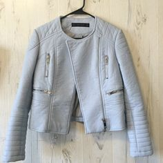 Baby Blue Leather Jacket Baby Blue Jacket from Zara. Material is very thick and high quality. Zara Jackets & Coats