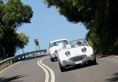 Austin-Healey Bug-Eyed Sprite With Jaguar Saloon