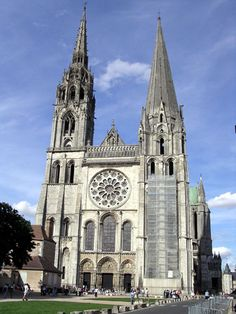 Chartres Cathedral (France) - green copper roof. 150 stained glass windows