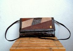 Reptile Embossed Genuine Leather Patent by BlastFromThePastBags
