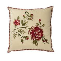 Transform your room into a blooming garden with the Waverly Norfolk Cabbage Rose Throw Pillow. Featuring a large-scale cabbage rose and reversing to a gingham plaid in hues of crimson and cream, this beautiful pillow will give your space classic charm. King Quilt Sets, Queen Quilt, Flower Room, Charro, Throw Pillows Bed, Accent Pillows, Cabbage Roses, Contemporary Quilts, American Decor