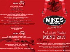 Mike's Kitchen Milnerton & City - End of Year Function Menu Menu, City, Kitchen, Menu Board Design, Cooking, Kitchens, Cities, Cuisine, Cucina
