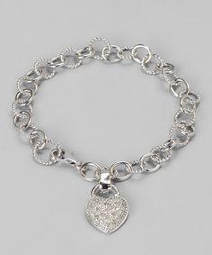 White Diamond & Sterling Silver Heart Bracelet