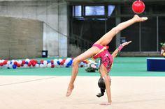 Arina Averina performing ball in Rhythmic Gymnastics
