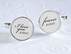 I Love You Forever Cufflinks, Groom Cufflinks, Wedding Day Keepsake Cufflinks, Gift for Groom on Etsy, $38.00