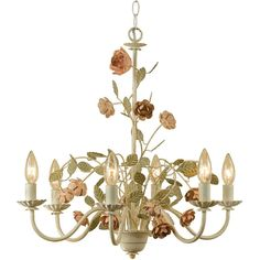 AF Lighting Ramblin' Rose 6-Light Antique Cream Chandelier with Floral Accents-7050-6H - The Home Depot