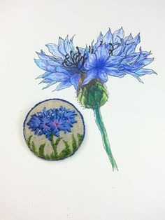 Handmade the cornflower brooch/ embroidered,flower,blue,green,lilac by Sujstory on Etsy