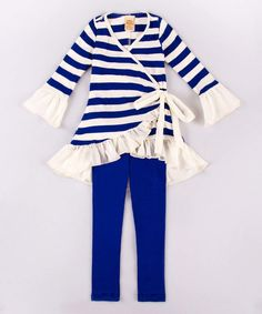 Look what I found on #zulily! Mia Belle Baby Royal Stripe Sky Tunic & Leggings - Toddler & Girls by Mia Belle Baby #zulilyfinds