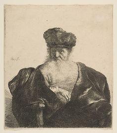 Rembrandt van Rijn (Dutch, An Old Man with a Beard, Fur Cap, and Velvet Cloak (c. Etching, x cm. The Houston Museum of Fine Arts Rembrandt Etchings, Rembrandt Drawings, Leiden, Old Man With Beard, Baroque Art, Johannes Vermeer, Dutch Painters, Old Men, Art Plastique