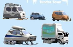 Zootopia Tundra-Town vehicles! Here is an assortment of snow vehicles I did to populate the Tundra-Town environment. There are other versions of these with wheels in the rest of the city.