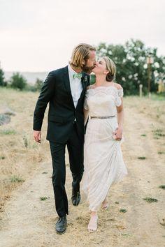 Wedding Dress: BHLDN - http://www.stylemepretty.com/portfolio/bhldn Photography: Matt Edge Wedding Photography - http://www.stylemepretty.com/portfolio/matt-edge-wedding-photography   Read More on SMP: http://www.stylemepretty.com/2014/12/05/boho-barn-wedding-in-napa/