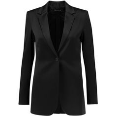 Theory Dalingwood satin blazer (650 BRL) ❤ liked on Polyvore featuring outerwear, jackets, blazers, black, theory jacket, satin blazer, blazer jacket, shoulder pad blazer and slim fit blazer