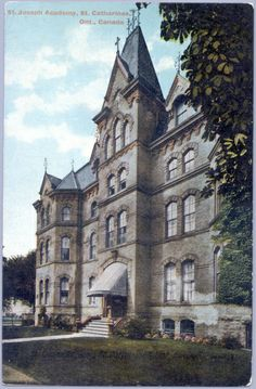 Convent-corner Church and James-DG postcard (from stcatharinesheritage.com) St. Joseph's Convent 63 Church St. Built: 1874 Destroyed by fire in 1972, demolished 1973. St Catharines, St Joseph, Cathedrals, Castles, Corner, Fire, Mansions, World, House Styles