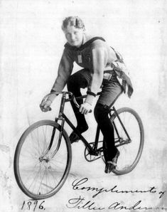 Tillie Anderson raced 130 races in the late 1800's losing only 7. Declared champion of the world, and broke boundaries for women's rights - along with the right to race!