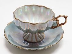 VINTAGE ROYAL SEALY FOOTED TURQUOISE BLUE IRIDESCENT MELON TEA CUP AND SAUCER Tea Cup Set, Tea Cup Saucer, Tea Sets, Melon Tea, Silver Tea Set, Teapots And Cups, Rose Tea, High Tea, Afternoon Tea