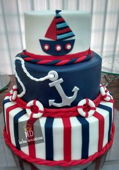 Nautico Nautical Birthday Cakes, Nautical Cake, Nautical Party, Nautical Baby Shower Cakes, Sailor Birthday, 1st Boy Birthday, Boy Birthday Parties, Torta Baby Shower, Baby Boy Cakes