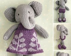 Knitted Toy knitting pattern for a bunny por Littlecottonrabbits