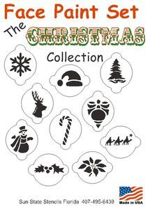 10 piece xmas christmas face paint stencil set kit snowman snowflake