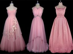 Supreme Pink Vintage Dresses!!  Gown #1  1950′s Christian Dior tulle. Gown #2 Grecian inspired 1960′s gown by Bergdorf Goodman  Gown #3  Taffeta ballgown accented with crystals and seed pearls is Christian Dior circa 1958.