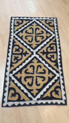 Wool Felted Shyrdak Rug from Kyrgyzstan 16 by AizadaImports